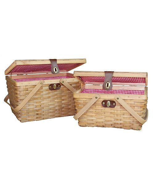 Vintiquewise Gingham Lined Wood Picnic Baskets, Set of 2