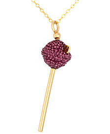 Simone I. Smith 18K Gold over Sterling Silver Necklace, Purple Crystal Mini Lollipop Pendant