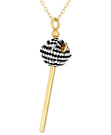 Simone I. Smith 18K Gold over Sterling Silver Necklace, Black and White Crystal Mini Lollipop Pendant