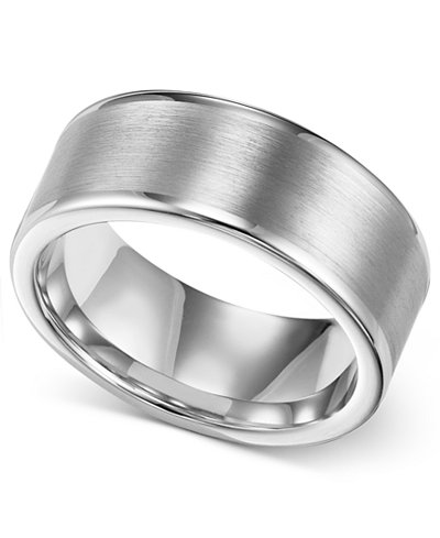Triton Mens Ring 8mm White Tungsten Wedding Band