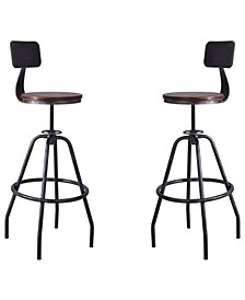 Getty Industrial Metal Adjustable Barstool in Brushed with Rustic Pine Wood Seat - Set of 2
