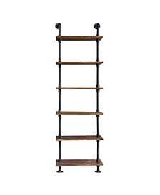 Florence Industrial Floating Brushed Pipe Wall Book Shelf with Walnut Wood