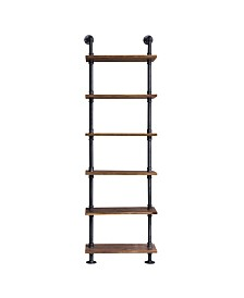 Today's Mentality Florence Industrial Floating Brushed Pipe Wall Book Shelf with Walnut Wood