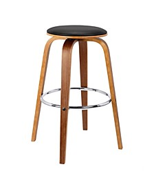 Brussel Mid-Century Backless Swivel Wood Barstool in Walnut with Faux Leather