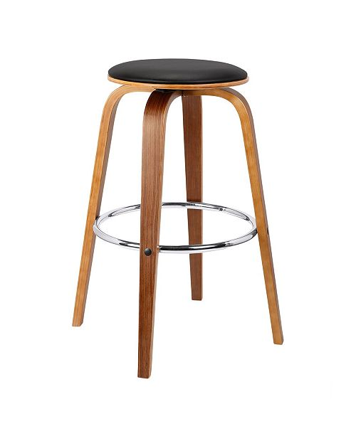Today's Mentality Brussel Mid-Century Backless Swivel Wood Barstool in Walnut with Faux Leather