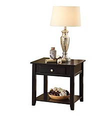 Wooden End Table with One Drawer and One Shelf