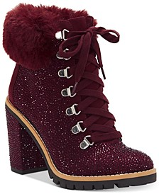 I.N.C. Women's Lesia High-Heel Bling Hiker Booties, Created For Macy's