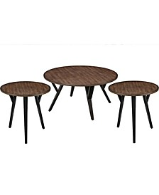 Round Wood and Metal Coffee End Table Set