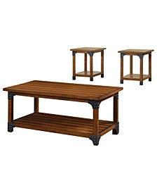 Wooden Table Set with Metal Corner Accents
