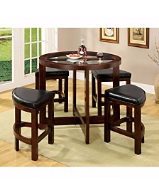 Benzara Counter Height Table Set with Glass Top