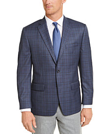 Michael Kors Blue/Brown Plaid Classic-Fit Sport Coat