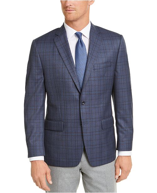 Michael Kors Blue/Brown Plaid Classic-Fit Sport Coat
