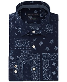 Men's Slim-Fit Non-Iron THFlex Supima® Performance Stretch Paisley Print Dress Shirt, Created for Macy's
