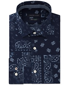 Tommy Hilfiger Men's Slim-Fit Non-Iron THFlex Supima® Performance Stretch Paisley Print Dress Shirt, Created for Macy's