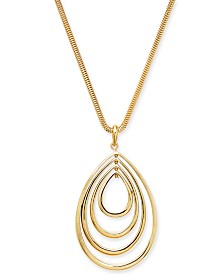 "Alfani Gold-Tone Ascending Teardrop Pendant Necklace, 34"" + 2"" extender, Created For Macy's"