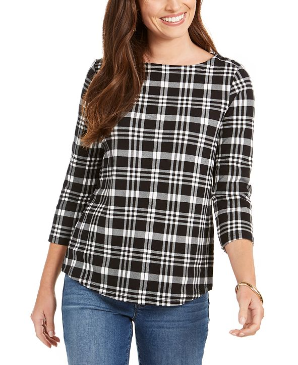 Charter Club Cotton Plaid 3/4-Sleeve Top, Created for Macy's