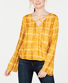 Juniors' Tie-Dyed Surplice Blouse