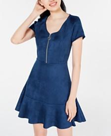 Rosie Harlow Juniors' Zip-Front Fit & Flare Dress