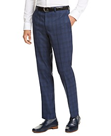 Men's Slim-Fit Stretch Blue Plaid Suit Pants, Created for Macy's