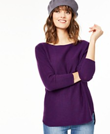 Charter Club Cashmere Long-Sleeve Shirttail Sweater, Created for Macy's