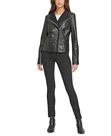 Knit-Collar Leather Moto Jacket