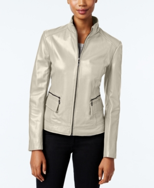Cole Haan Jackets LEATHER STAND-COLLAR JACKET