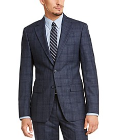 Men's Slim-Fit Blue Plaid Suit Jacket