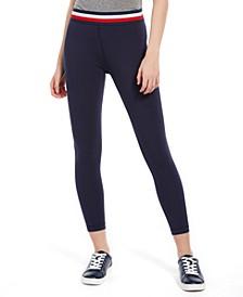 Striped-Waist 7/8-Length Pants