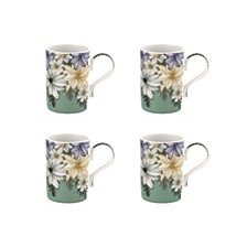 Atrium Floral Mug, Set of 4