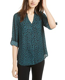 Juniors' Animal Printed Roll-Sleeve Blouse