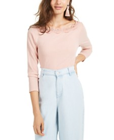 American Rag Juniors' Lace-Trimmed Pointelle-Knit Top, Created for Macy's