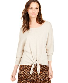 Style & Co Tie-Front Sweater, Created for Macy's
