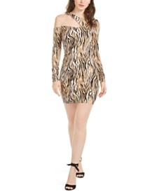 GUESS Shasti Cutout Animal Print Dress