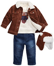 First Impressions Baby Boys Fur-Trim Corduroy  Jacket & Hat, Fuzzy Owl Sweatshirt & Moto Jeans, Created for Macy's