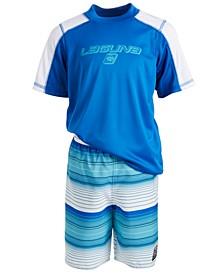 Toddler & Little Boys 2-Pc. Rash Guard & Swim Shorts Set