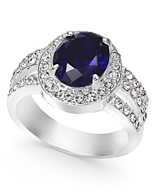Charter Club Silver-Tone Crystal Oval Ring, Created For Macy's