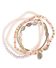 INC Gold-Tone 5-Pc. Set Crystal & Leaf Beaded Stretch Bracelets, Created For Macy's
