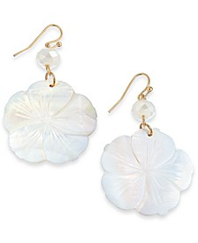 INC Gold-Tone Flower Shell Drop Earrings, Created For Macy's