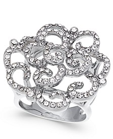INC Silver-Tone Pavé Rose Ring, Created for Macy's