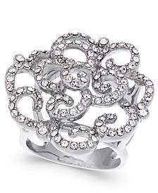 I.N.C. Silver-Tone Pavé Rose Ring, Created For Macy's