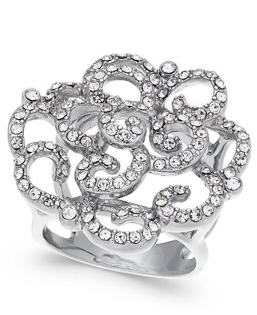 INC International Concepts INC Silver-Tone Pavé Rose Ring, Created For Macy's
