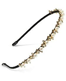 INC Gold-Tone Imitation Pearl Headband, Created For Macy's