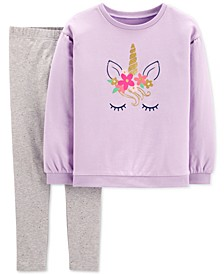 Little & Big Girls 2-Pc. Glitter Unicorn Top & Leggings Set