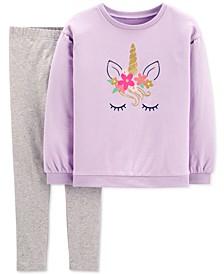 Little & Big Girls 2-Pc. Glitter Unicorn Top & Leggings Set