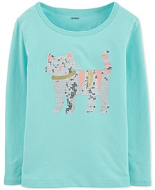 Baby Girls Cotton Sequin Cat T-Shirt