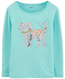 Carter's Baby Girls Cotton Sequin Cat T-Shirt