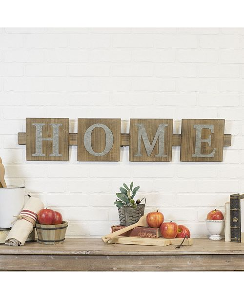 "VIP Home & Garden VIP Home International Wood ""Home"" Word Art with Metal Letters"