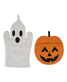 Design Imports Ghost Oven Mitt and Jack O'Lantern Potholder Set