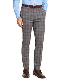 Men's Slim-Fit Stretch Wrinkle-Resistant Gray/Black Plaid Dress Pants