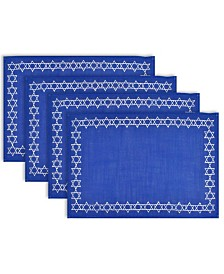 Design Imports Embroidered Star David Placemat Set